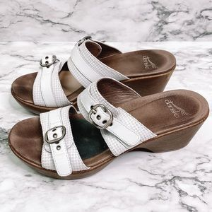 Dansko Sophie White Leather Sandals